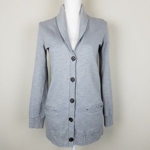 J. Crew Rumpled French Terry Gray Cardigan A1702